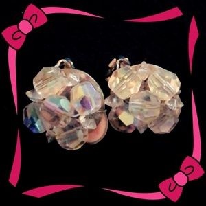 Vintage glass bead cluster clip on earrings